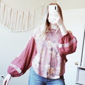 FREE PEOPLE Floral Balloon Sleeve Thermal Blouse